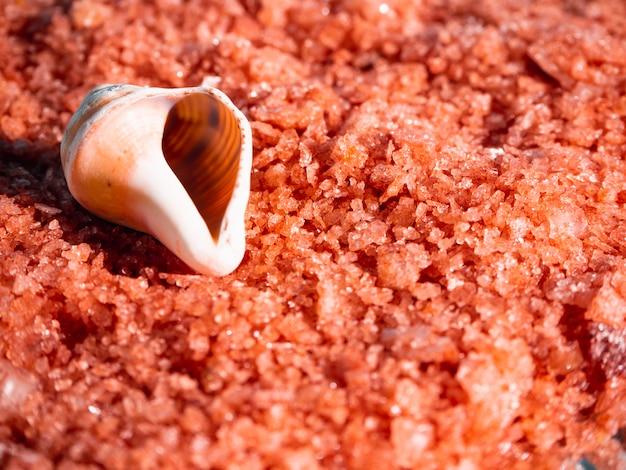 Sel de bain à l'orange avec coquilles. spa, détendu, été.
