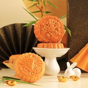 Selected focus moon cake dessert chinois snack pendant le nouvel an lunaire festival de la mi-automne
