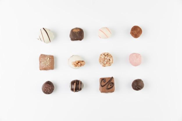 Sélection de chocolat vue de dessus