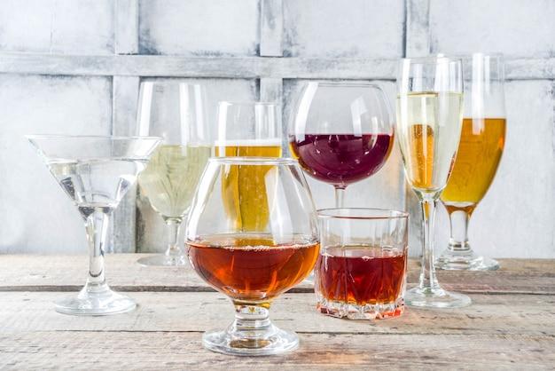 Sélection de différentes boissons alcoolisées