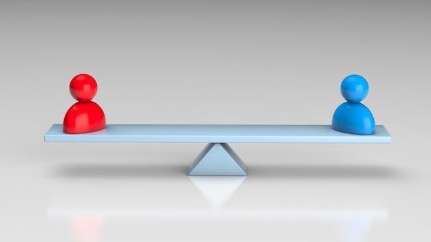 Sélection des employés. balance avec un leader et un employé ordinaire. rendu 3d.