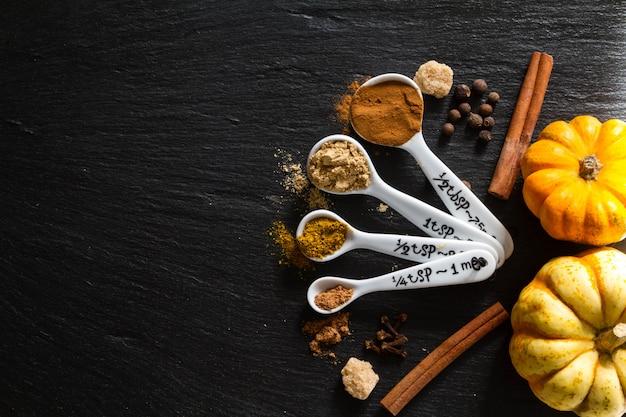 Sélection d'épices pour noël et thanksgiving, fond de pierre sombre