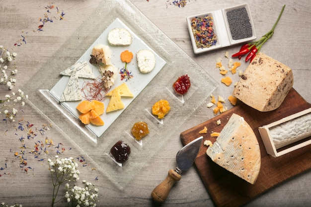 Sélection de fromages italiens d'en haut