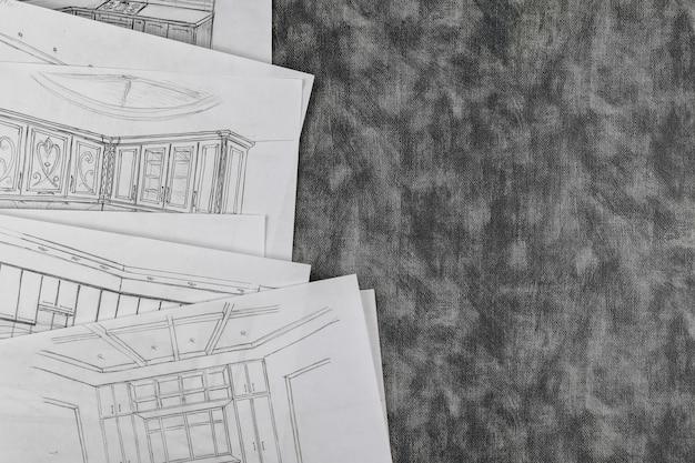 La sélection de remodelage sur le projet de cuisine personnalisée architecturale rend le dessin de conception de cuisine
