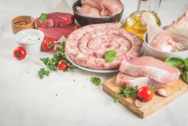 Sélection de viande crue