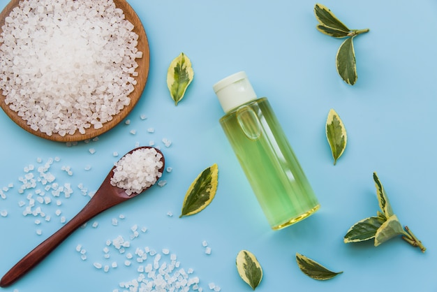 Les sels minéraux; feuilles et vaporisateurs sur fond bleu