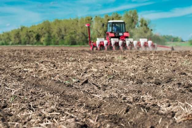 Semis sur des terres labourées, avec un pic de terrain au premier plan
