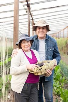 Senior couple appréciant la récolte d'aubergines