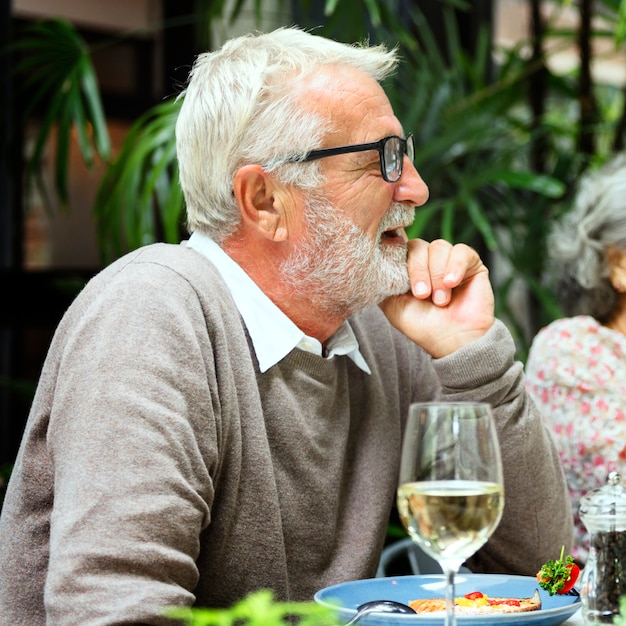 Senior groupe relax lifestyle dinning concept