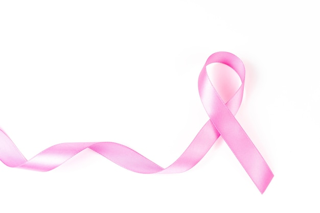 Sensibilisation au cancer du sein ruban rose sur fond blanc, concept de soins de santé