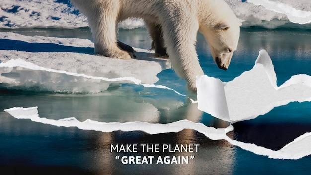 Sensibilisation au réchauffement climatique avec fond d'ours polaire déchiré