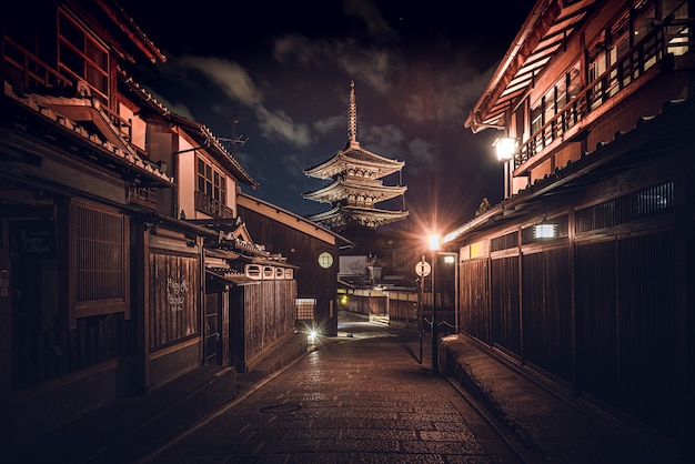 Sentier au milieu des bâtiments sous un ciel sombre au japon