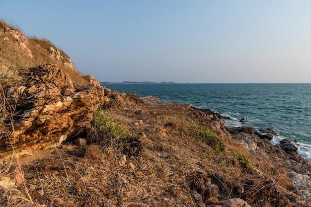 Sentier dans le champ d'herbe sauvage en face du panorama de la mer