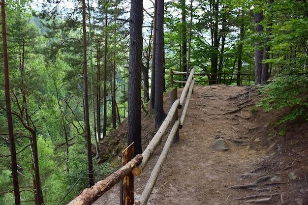Sentier de montagne sur une falaise envahie par les arbres. a gauche, une balustrade est faite de rondins. le sentier est vide et rocheux, photographié en été