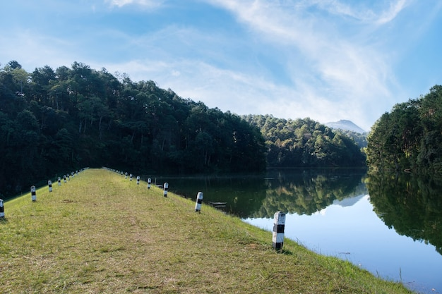 Sentier naturel sur la crête du barrage du petit réservoir dans la vallée pour le système d'irrigation en zone rurale