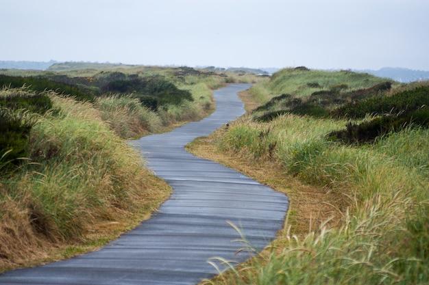 Sentier pavé menant à une plage de sable