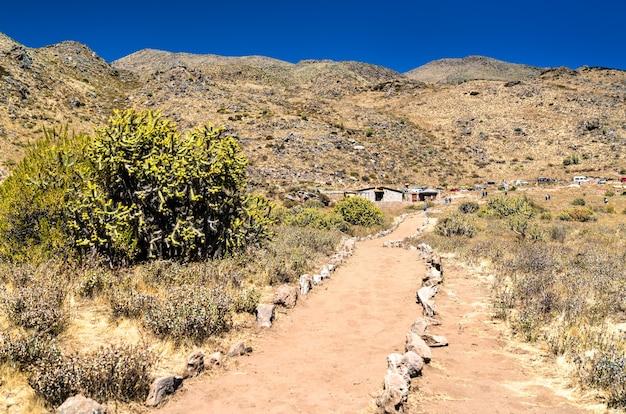 Sentier de randonnée au canyon de colca au pérou