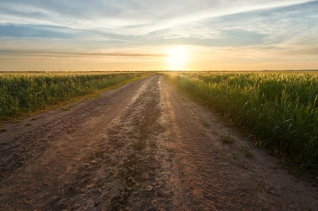 Sentier sur le terrain, paysage à l'extérieur du sentier de la ville sur fond de coucher de soleil