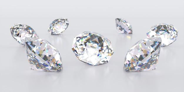 Sept diamants se trouvant dans un petit tas, illustration 3d
