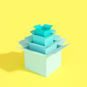 Série de boîtes de différentes tailles 3d