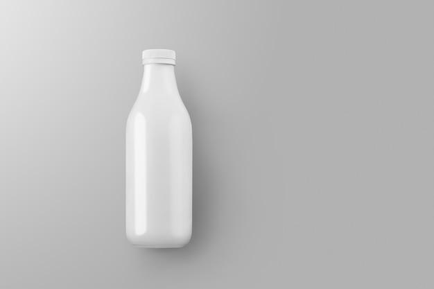 Série de maquettes d'emballage de boissons. bouteille en plastique vierge avec reflets et ombres sur fond gris studio. vue de dessus. modèle prêt à être utilisé dans votre conception
