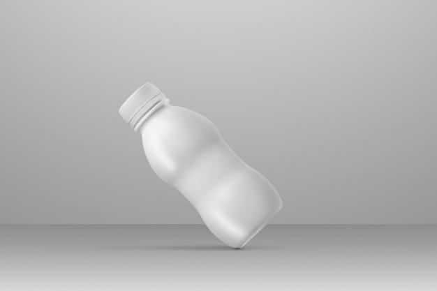 Série de maquettes d'emballage de boissons. petite bouteille en plastique blanche avec reflets et ombres sur fond gris studio. placement en diagonale. modèle prêt à être utilisé dans votre conception.
