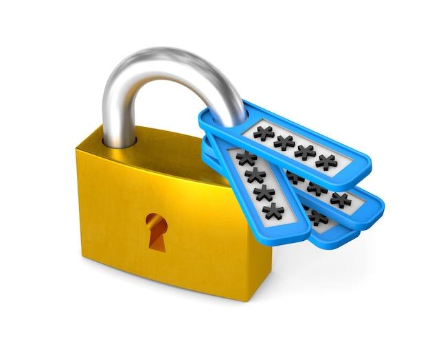 Serrure fermée et mot de passe. isolé sur fond blanc avec un tracé de détourage. rendu 3d.