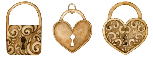 Serrures en forme de coeur aquarelle pour la saint-valentin et le concept de l'amour. illustration dessinée à la main