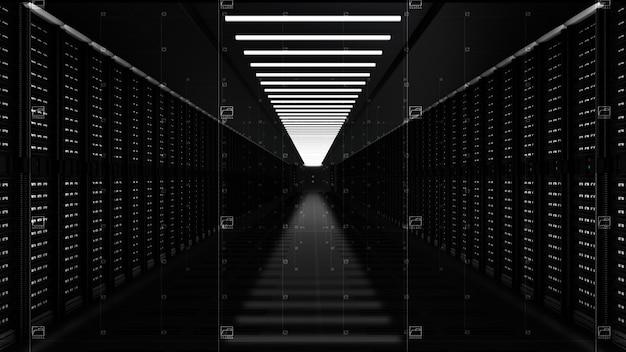 Serveurs de réseau de données numériques dans une salle de serveurs
