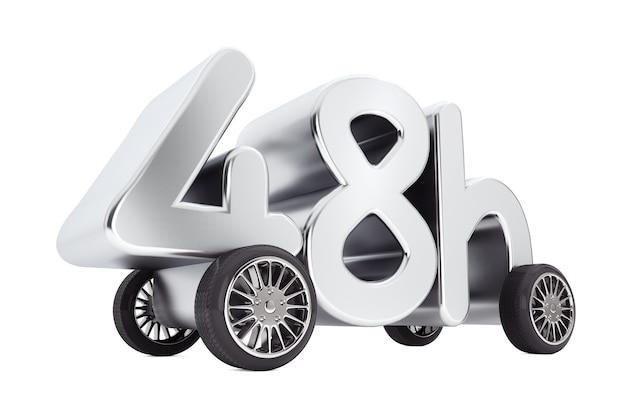 Service de 48 heures et concept de livraison sur roues sur fond blanc. rendu 3d.