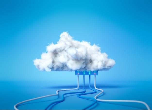 Service de cloud computing de rendu 3d, concept d'hébergement de technologie de stockage de données en nuage. nuage blanc avec des câbles sur fond bleu.