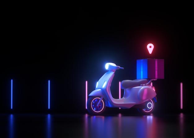 Service de livraison 3d gratuit en scooter sur néon.