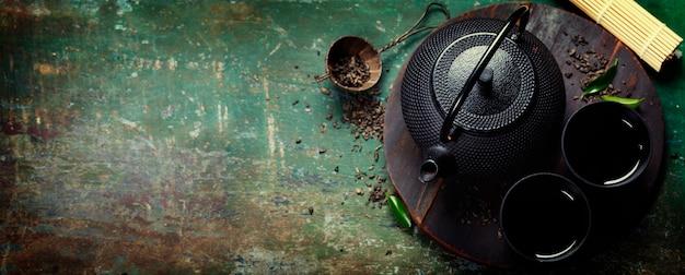 Service à thé asiatique en fer noir