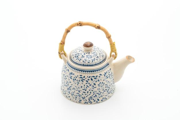 Service à thé chinois vintage sur blanc