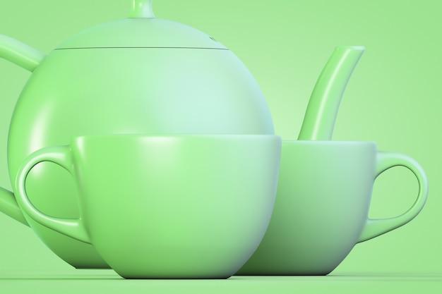 Service à thé dans un style vert. deux tasses et une théière.