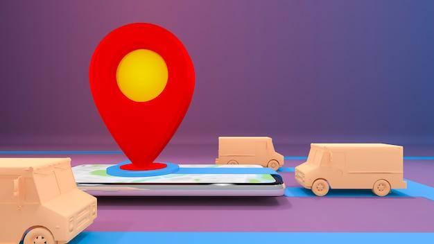 Service de transport de commande d'application mobile en ligne., concept de livraison., rendu 3d.