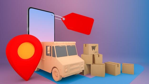 Service de transport de commande d'application mobile en ligne., shopping en ligne et concept de livraison., rendu 3d.