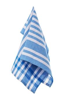 Serviette en coton bleu isolé sur fond blanc