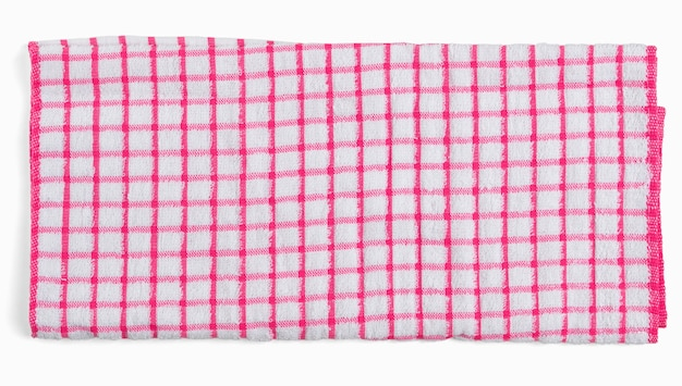 Serviette de cuisine à carreaux blanc rouge. serviette isolée sur espace blanc vue de dessus plat lapointe.