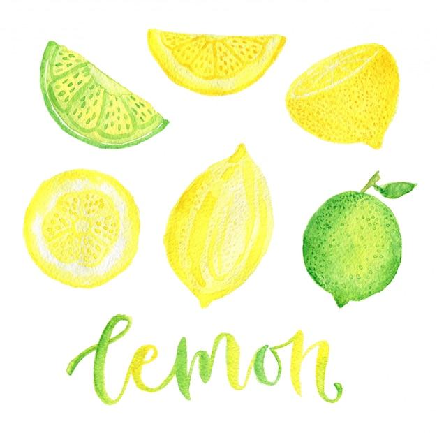 Set aquarelle de citron et citron vert.