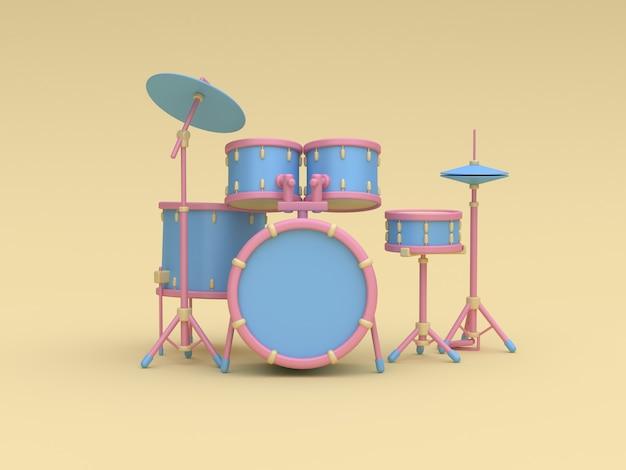 Set de batterie 3d bleu-rose style cartoon fond jaune rendu 3d