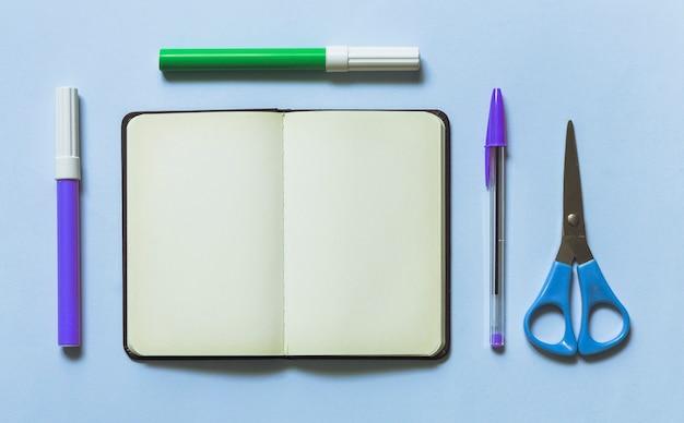 Set d'écriture bleue avec des marqueurs