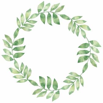 Set de feuilles aquarelle dessinés à la main. belle couronne délicate aux couleurs vertes.