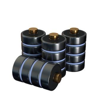 Set d'icônes disque une base de données du concept de batterie isolé sur fond blanc. le concept de stockage. illustration 3d