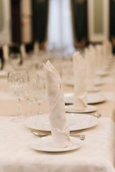 Set de table pour une fête ou une réception de mariage
