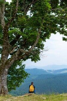 Seul mec assis sur la falaise et profiter du paysage paisible des montagnes vertes. tranquillité d'esprit et détente.
