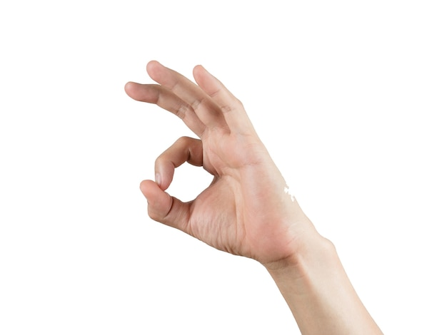 Une seule main fait ok sur blanc isolé