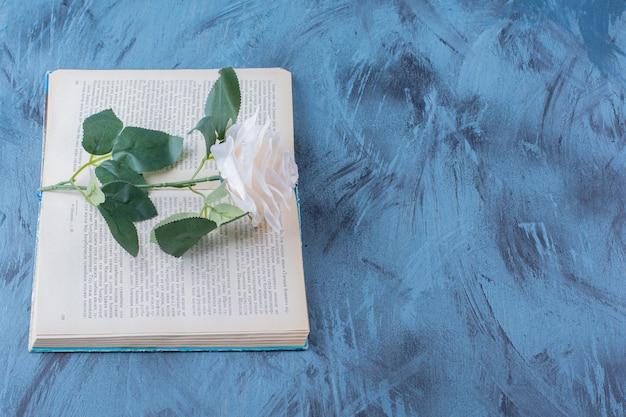 Une seule rose blanche placée au-dessus d'un livre ouvert sur bleu.