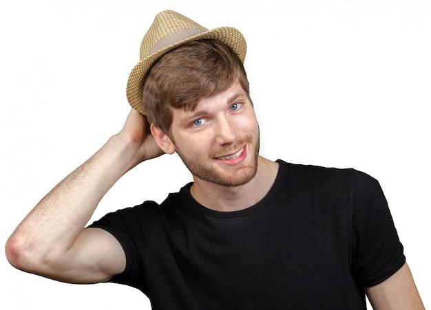 Sexy jeune homme avec chapeau