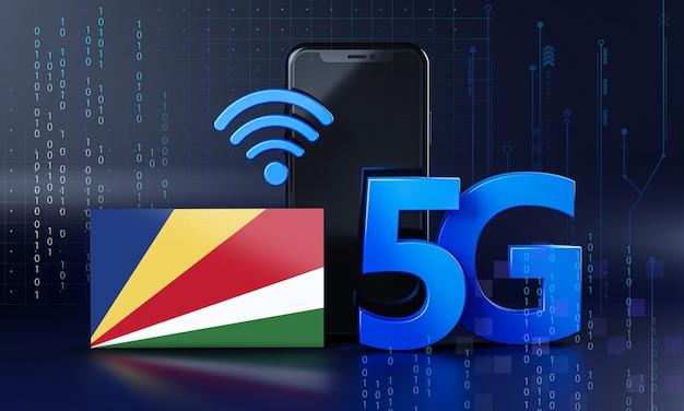 Les seychelles sont prêtes pour le concept de connexion 5g. fond de technologie smartphone de rendu 3d